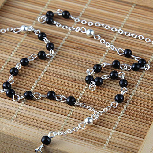 Fashion Rosary Beaded Chain Necklace Silver Cross Pendant Lucky Jewelry Gift