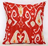 Ganesham- Kantha Decorative Ikat Handmade Cotton Pillow Case, Home Decor Cushion Cover, Hippie Sofa Boho Chic Bohemian Pillow Throw (16x16) inch