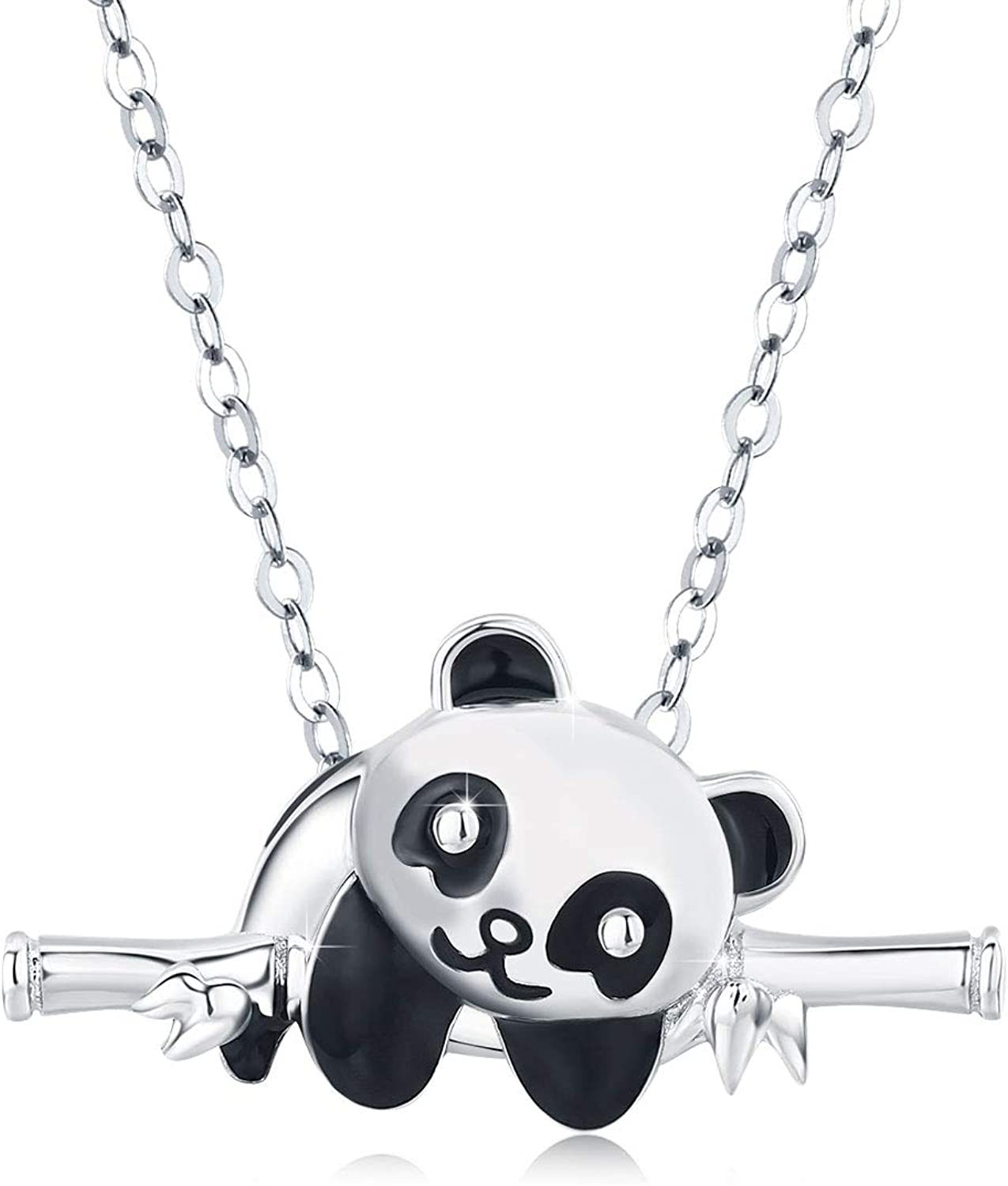 JUSTKIDSTOY Panda Necklace Gifts for Mother's Day 925 Sterling Silver Cute Animal Heart Pendant - I Love You Forever Jewelry for Women Daughter Panda Lover