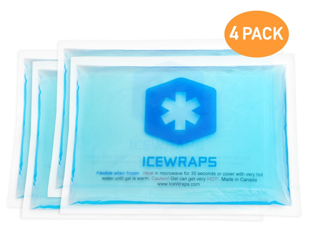 Reusable Hot Cold Packs - Set of 4 Microwaveable Hot Packs or Ice Cold Compress for Pain Relief, Injuries, Arthritis, Cramps, Bruises, or First Aid - Blue 5x7 Gel Packs
