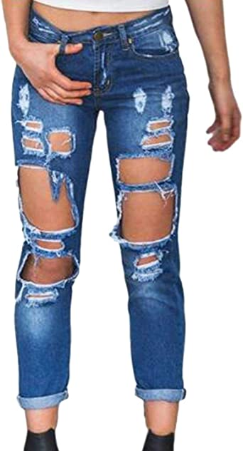 Bobolily Pantalones De Mezclilla Pantalon Jeans Ajustados De Cintura Estilo Pantalones E Amazon Es Ropa Y Accesorios