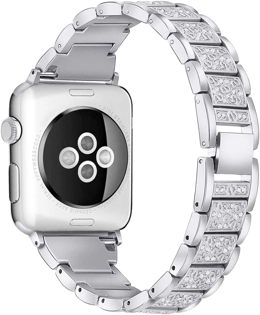 Mtozon Bling Bands Compatible with Apple Watch Band 38mm/40mm Iwatch Series 5/4/3/2/1, Women Metal Rhinestone Dressy Replacement Wristband, Silver