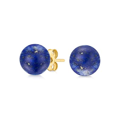 26d79d2c0a336d Image Unavailable. Image not available for. Color: Classic Simple Gemstone  Blue Lapis Lazuli Ball Stud Earrings For Women Real 14K Yellow Gold December