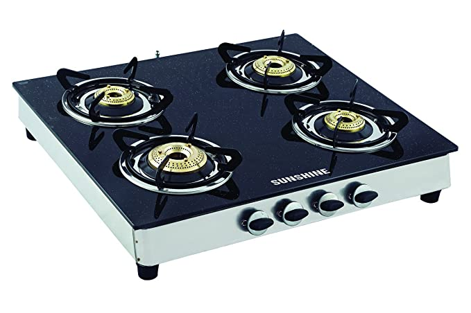 Sunshine Four Burner SS Black Gas Stoves at amazon