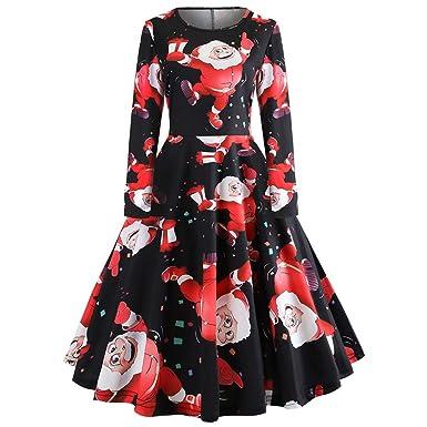 e57f9696780b BeautyGal Round Collar Long Sleeve Christmas Santa Claus Pattern Women  Vintage Dress Black-D S