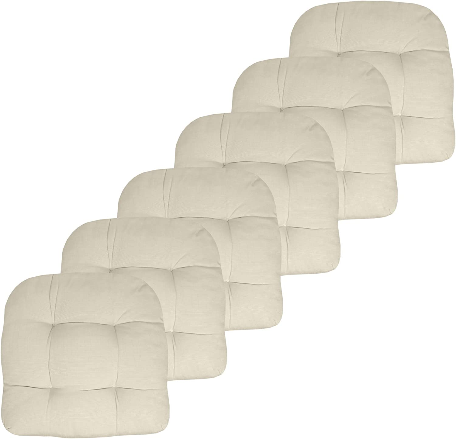 """Sweet Home Collection Patio Cushions Outdoor Chair Pads Premium Comfortable Thick Fiber Fill Tufted 19"""" x 19"""" Seat Cover, 6 Pack, Cream"""