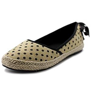 Ollio Women's Shoe Ballet Polka Dot Pattern Espadrille Flat (9 B(M) US, Black)