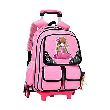 dca3279bd204e Zhhlinyuan Trolley Rollen Rucksack Tasche für Kinder Schüler -  Schultertasche Schultrolley Reisegepäck Handgepäck Schulranzen Handtasche  Mädchen