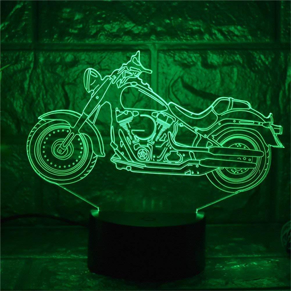 FERZA Home Motorrad 3D Nachtlicht LED USB Wohnkultur Tischlampe Touch Fernbedienung 16 Farbverlauf Kreative Büro Dekor Kinderspielzeug Geschenke