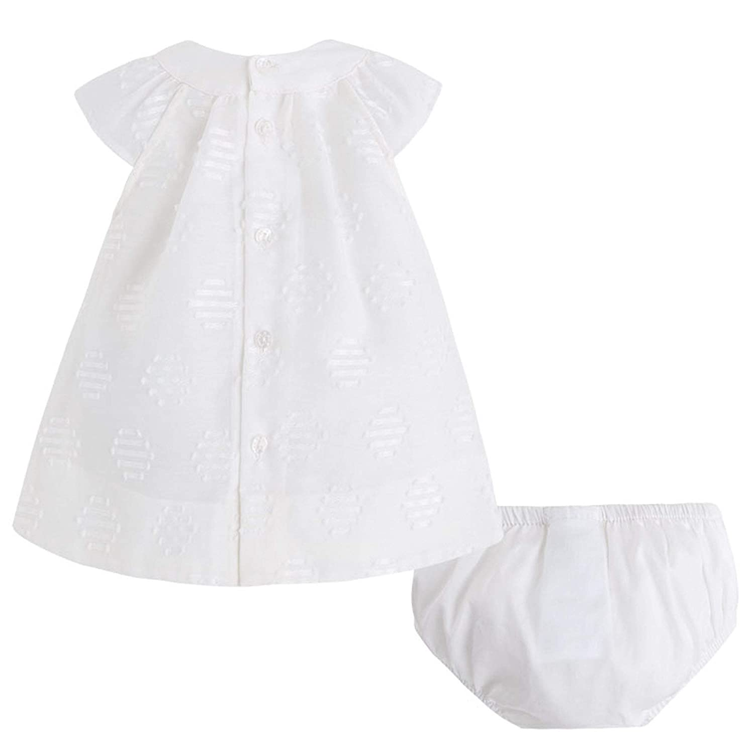 Mayoral Newborn Baby Girls 0M-12M Ivory Embroidered Dot Social Party Dress