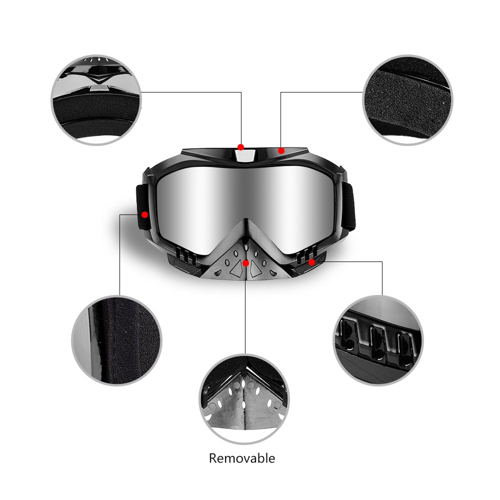 Dmeixs Motorcycle Goggles, Dirt Bike Goggles Grip For Helmet, Anti UV Windproof Dustproof Anti Fog Glasses for ATV Off Road Racing with Cool Look Headwear, Silver Lens, 2 in 1 by Dmeixs (Image #4)