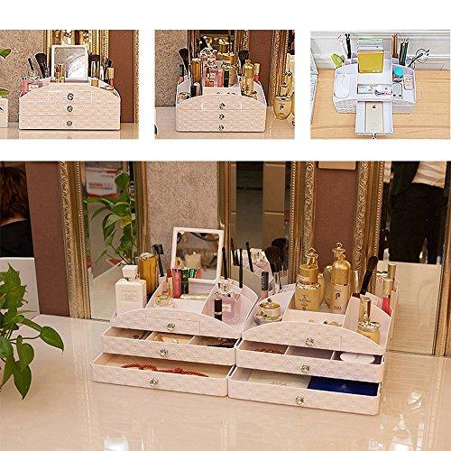 Cosmetic Storage Box With Mirror Drawer Household Dresser Jewelry Storage Shelf Large Plastic
