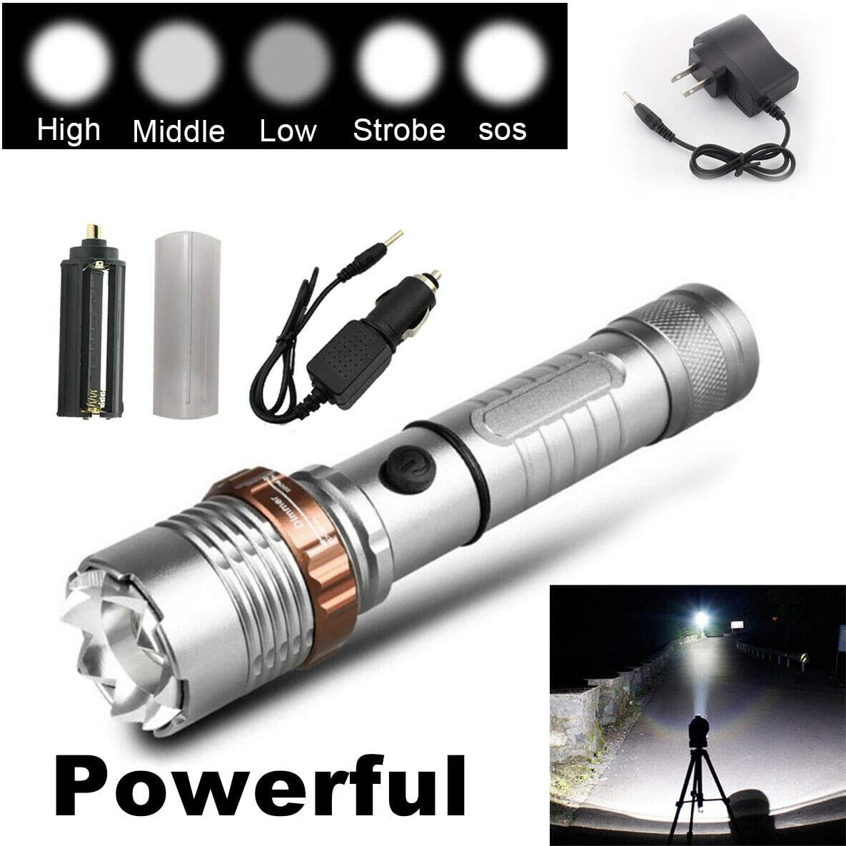 Details about  /Tactical 990000LM Zoomable LED Bright Flashlight Torch Aluminum Hand Lamp
