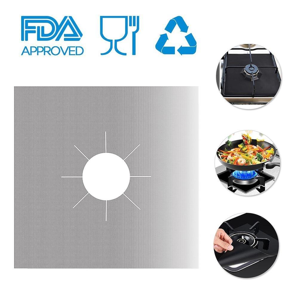 Pawaca 4 PCS Gas Range Protectors,Reusable Aluminum Foil Gas Stove Burner Cover Protector Liner Clean Mat Pad,Non-Stick,Heat-resistant,Easy to Clean-Beige