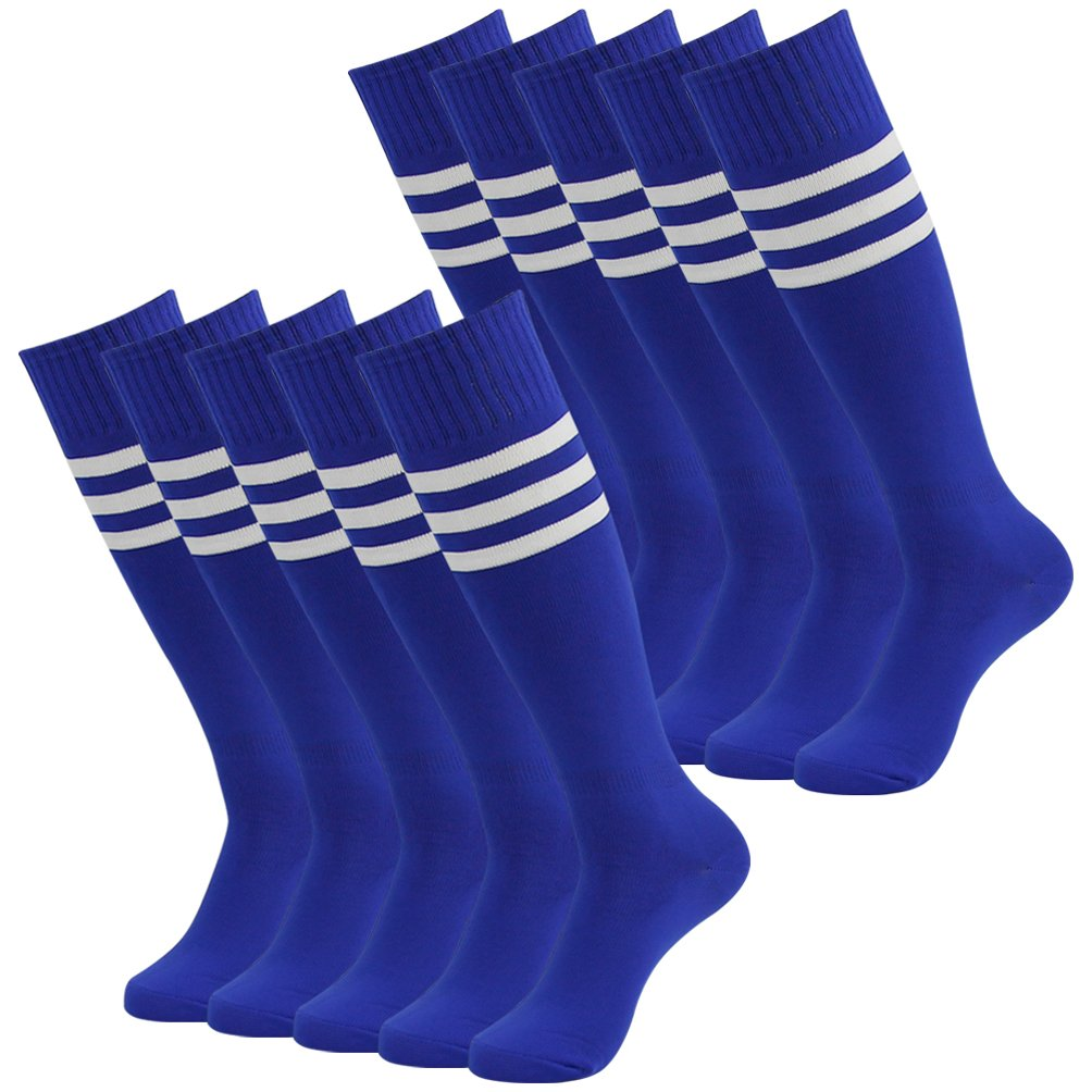 J'colour Team Sports Socks Men, Long Soccer Football Baseball Compression Tube Socks Over the Calf 10 Pairs Blue&White Stripe by J'colour