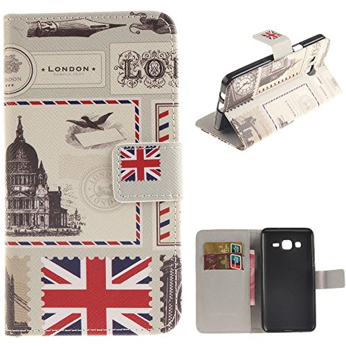 axy On5 Wallet Leather Case,Maoerdo [London Envelopes] Built-in Card Slots Folio Flip Kickstand Feature Magnetic PU Leather Wallet Case Cover for Samsung Galaxy On5 G500 ()