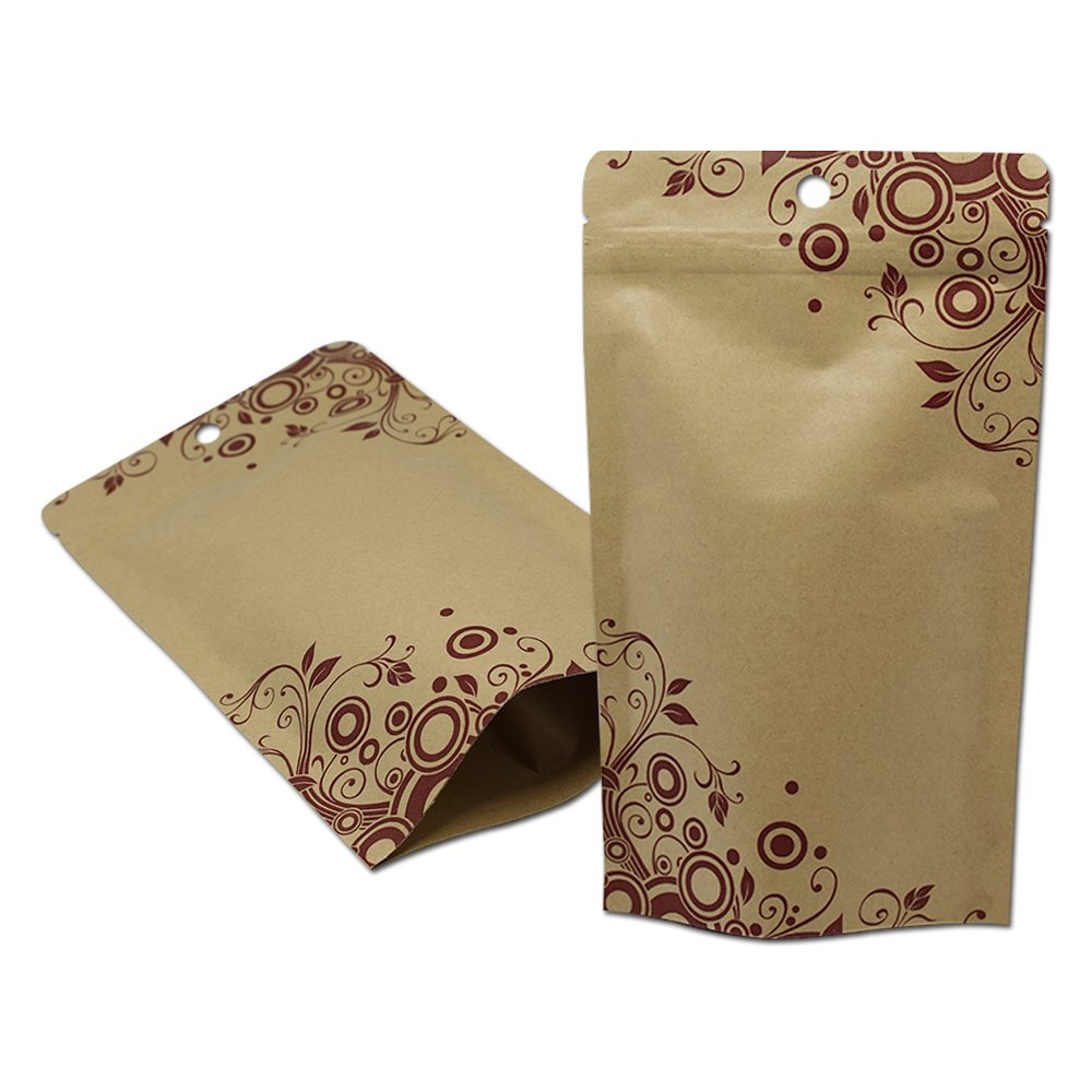 Inner Aluminum Foil Kraft Paper Nuts Packaging Smell Proof Heat Sealable Bags with Tear Notches Stand Up Resealable Ziplock Coffee Gusset Pouch Long Term Emergency Food Storage Supply Snack Wrappers