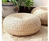 TaiAn Japanese Style Hand Made Cattail Stem Tatami Cushion Pouf Floor Cushions Ottoman with Steel Ribs Inside, 40cm by 17 cm, D-084
