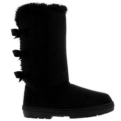 a71c4d6be14f8f Damen Schuhe Triplet Schleife Fell Schnee Regen Stiefel Winter Fur Boots -  Schwarz - 38 -