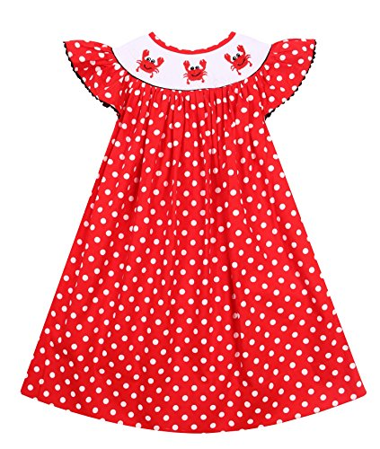 Babeeni Red Dress For Girls With Little Cute Crab Hand-Smocked Patterns and Angel Sleeves In White Dot Fabric Bishop Style (Angel Sleeve Bishop)