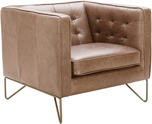Amazon Brand Rivet Brooke Contemporary Mid-Century Modern Tufted Leather Living Room Chair, 35 W, Cognac