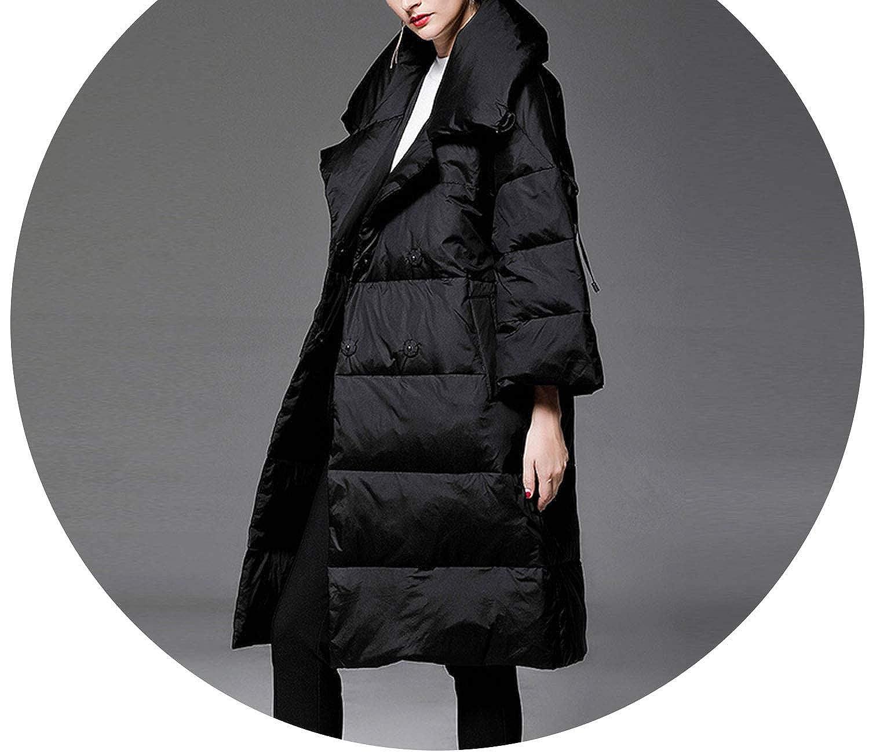 Black Runway Fashion Women's Three Quarter Flare Sleeve White Duck Down Jacket Coat with Belt