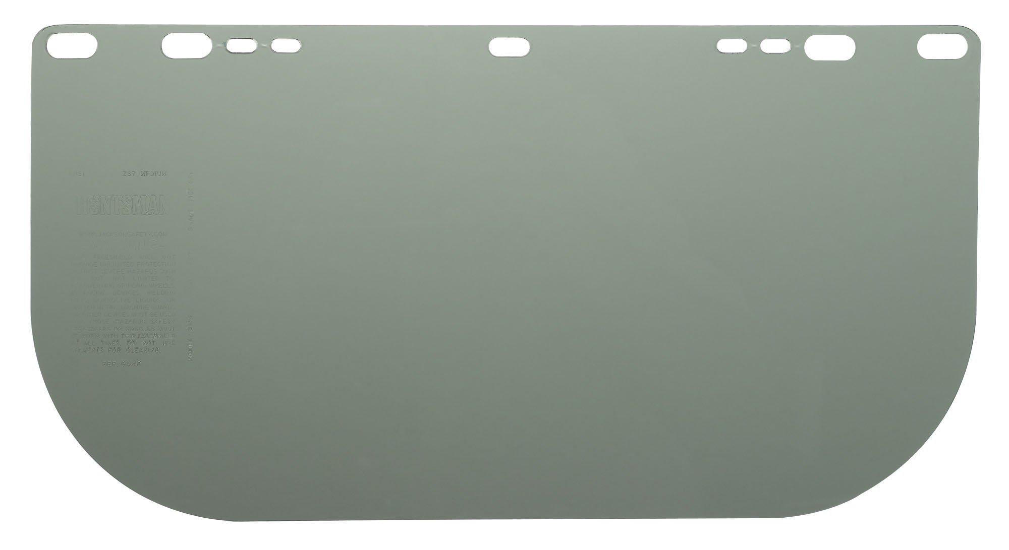 Jackson Safety F10 Polyethylene Terephthalate Aluminum Bound Face Shield, 15-1/2'' Length x 9'' Width x 0.040'' Thick, Medium Green (Case of 36)