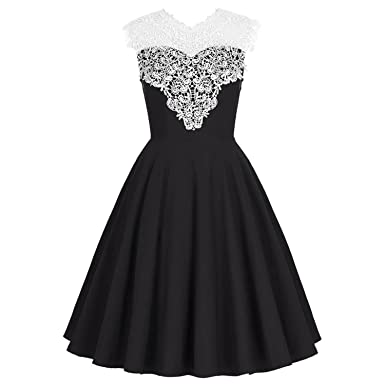 Elegant Black BlueDresses Audrey Hepburn Vestidos Sleeveless Dress Rockabilly Clothes,Black,S