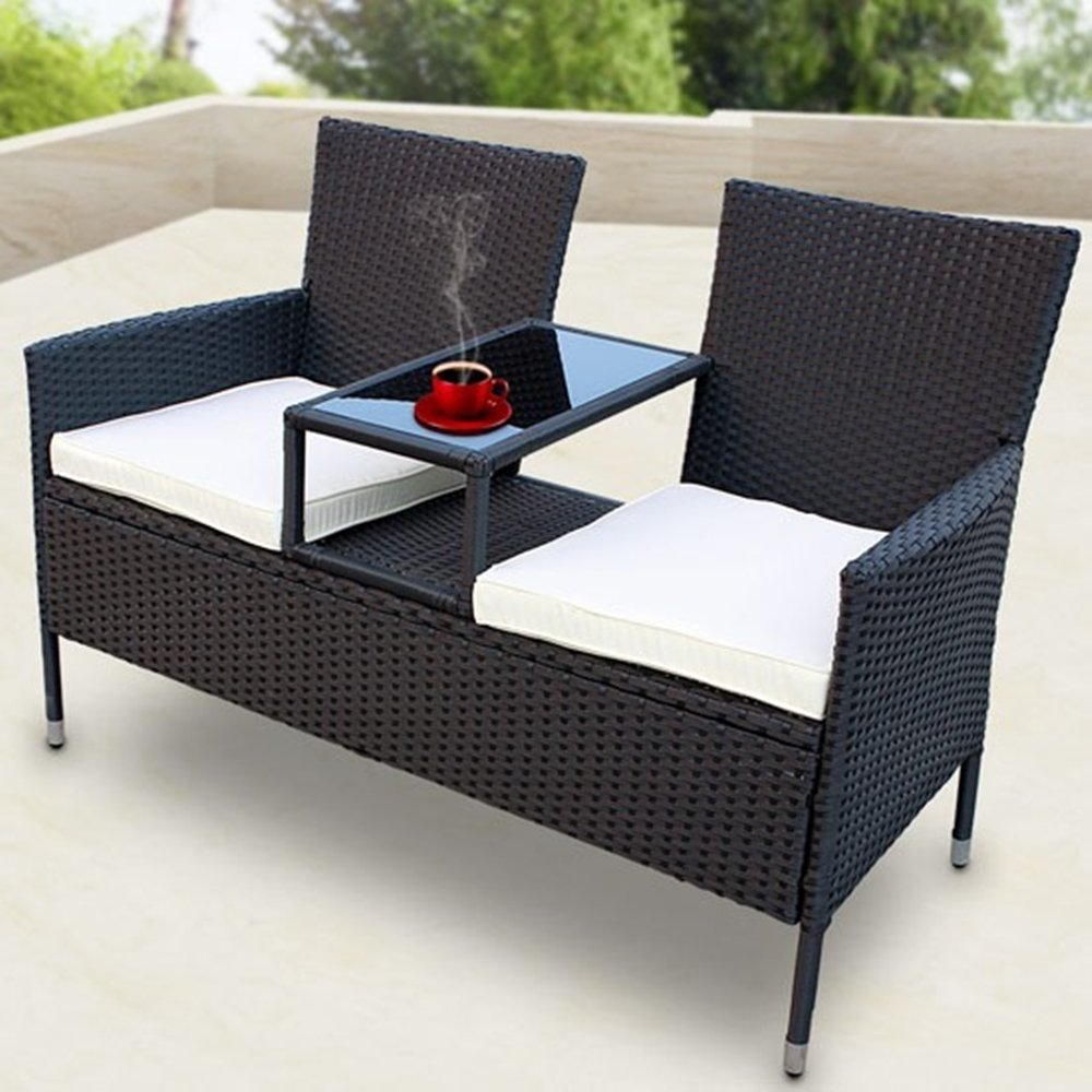 ssitg polyrattan gartensofa gartenbank mit tisch sitzbank. Black Bedroom Furniture Sets. Home Design Ideas