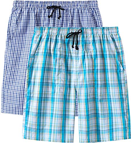 (JINSHI Men's Woven Stretch Pajama Shorts Cotton Soft Lounge Sleep Shorts with Pockets 2 Pack Small)