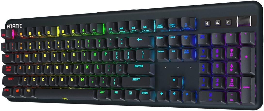 Fnatic Streak - LED Backlit Full RGB Mechanical Gaming Keyboard - Cherry MX Blue Switches - Ergonomic Wrist Rest - Premium Pro Esports Gaming Design