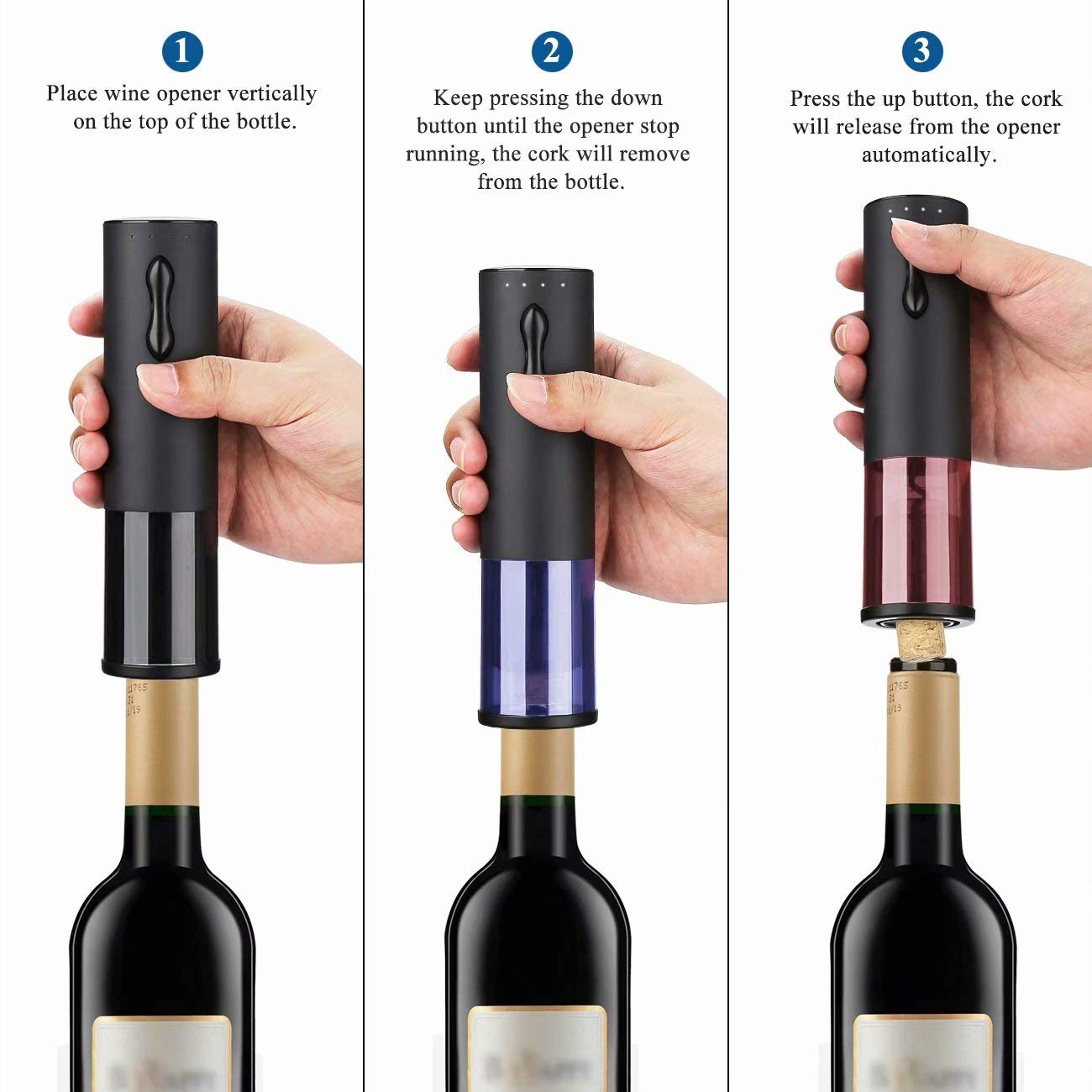 Electric Rechargeable Automatic Wine Bottle Openers Stainless Black