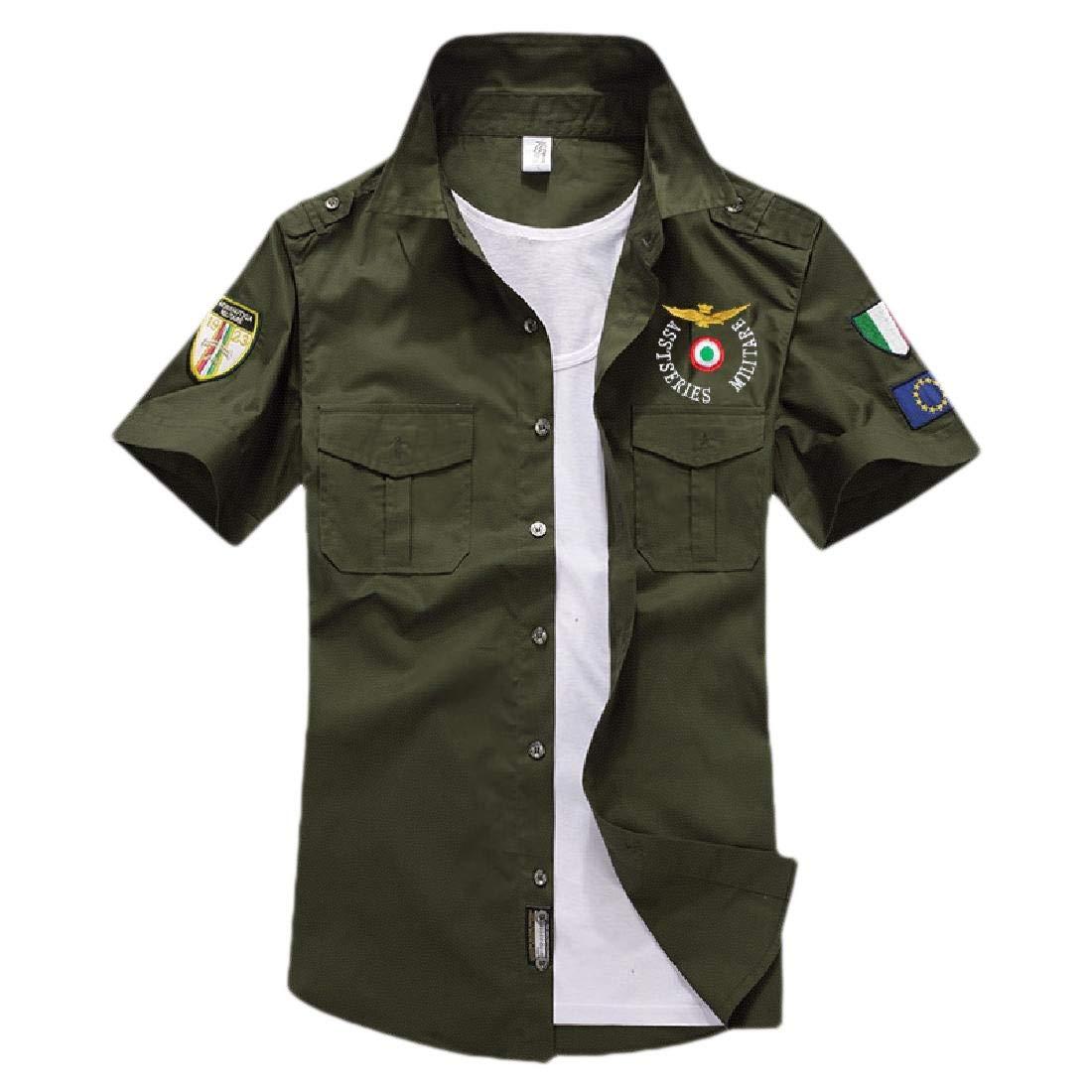 ZXFHZS Men Short Sleeve Military Style Tops Tactical Cargo Work Shirt