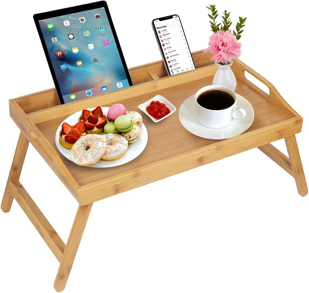 Artmeer Bed Tray Table with Handles Folding Legs Bamboo Breakfast Tray with Phone Tablet Holder,Foldable Breakfast Table Laptop Desk,Kitchen Serving Bed Table Tray(Beige)