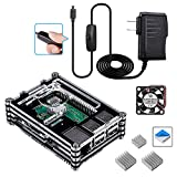 Smraza Case for Raspberry Pi 3 B+ with Fan Cooling and Heatsinks, 5V/2.5A Power Supply with On/Off Switch, Case for Pi 3B+ 3 Model B Plus