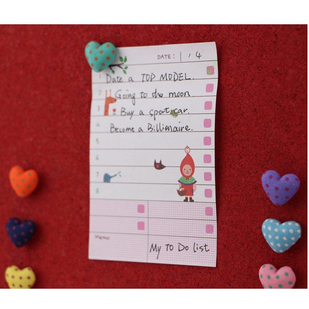 Puntine da disegno TOYMYTOY Push pins con testa di cuore a pois in tessuto colorati 36PCS