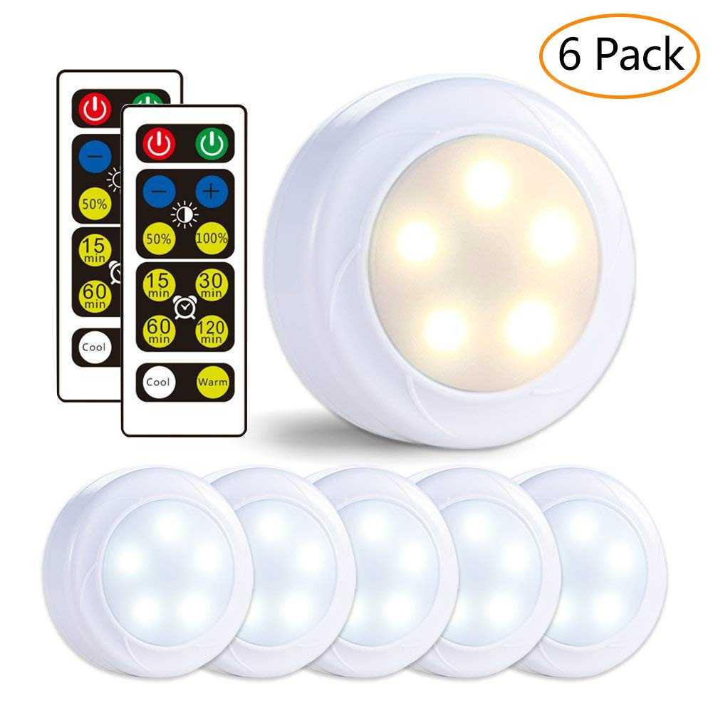 LUNSY Wireless LED Puck Lights, Closet Lights 3AA Battery Operated with Remote Control, Dimmable Kitchen Under Cabinet Lighting, Cool White/Warm White Light - 6 Pack by LUNSY