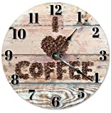 Large 10.5'' Wall Clock Decorative Round Wall Clock Home Decor Novelty Clock I LOVE COFFEE