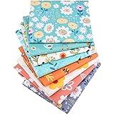 "8 Pcs Floral Fat Quarters Fabric Bundles,Precut Sewing Quilting Fabric,18"" x 22"" Pink, Blue, Green"