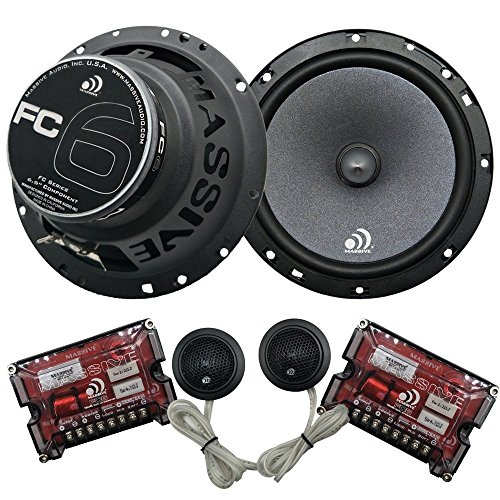 Massive Audio FC6-6 Inch / 6.5 Inch 200 Watts Max, 25mm Silk Dome Tweeter, 4 Ohm, 12dB X-Over, Component Car Speaker System. Sold as Pair ()