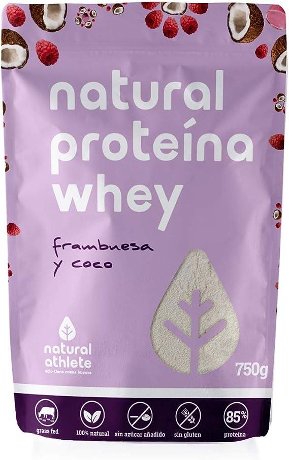 Proteína Whey Frambuesa/Coco Natural Athlete Aislado de Suero de Leche de Vacas de Pastoreo Sin Azúcar Añadido, 100% Natural, Sin Gluten – 750 g