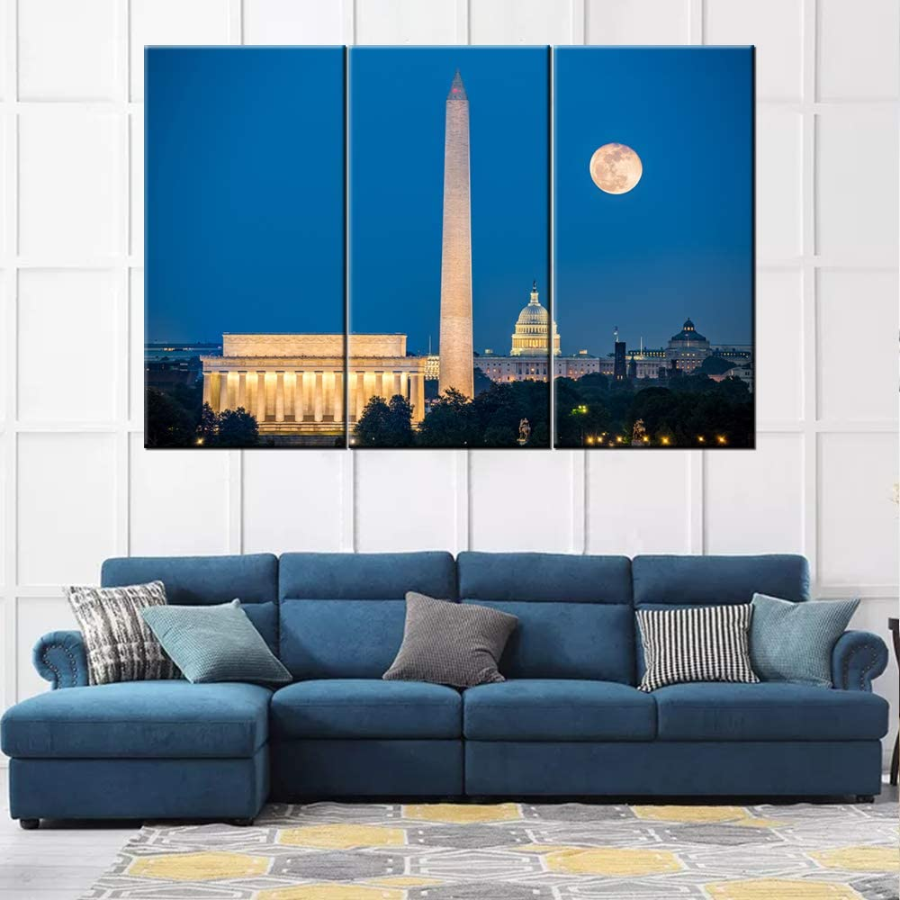 3 Piece Canvas Wall Art -Lincoln Memorial, Washington Monument and Capitol Building in Washington DC as viewed from Arlington, Virginia- Modern Home Decor Stretched and Framed Ready to Hang 20