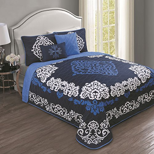 (Avondale Manor Sorrento 5-Piece Quilt Set, Queen, Navy)