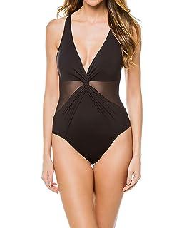 db4f6d9260 Michael Michael Kors Women's Layered Illusion V-Neck One-Piece Swimsuit  w/Mesh