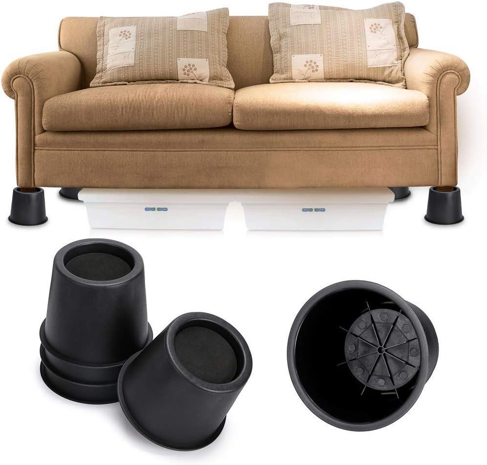 Hauteur : 10 cm Pieds de meubles Pieds en caoutchouc Noir Ronds Lot de 4 rehausseurs de meubles Rehausseurs de table Uoyous