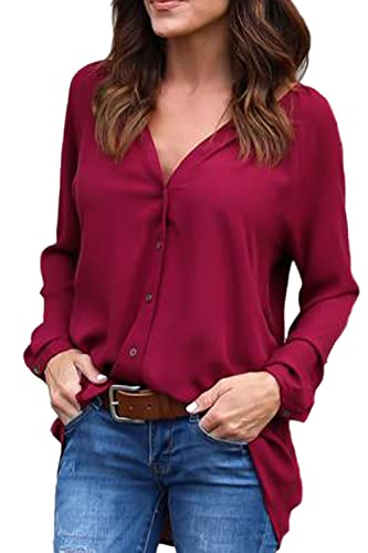 Las Mujeres Con Cuello En V Single - Breasted Cardigan Tops Blusa Camisa