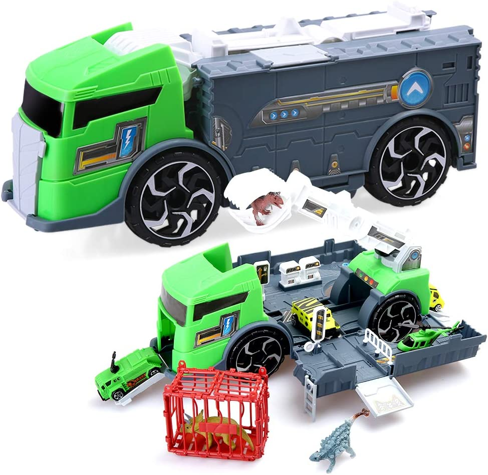 Dinosaur Truck BeebeeRun Dinosaur Toys Fun Dinosaur Truck with Dino Figures Car Educational Truck Set DIY Car Set for Boys Girls Children Kids