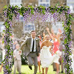 Lvydec Wisteria Artificial Flowers Garland, 4Pcs Total 28.8ft Artificial Wisteria Vine Silk Hanging Flower for Home Garden Outdoor Ceremony Wedding Arch Floral Decor 2