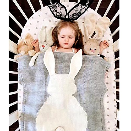 (HILTOW Cute Rabbit Thick Warm Infant Bedding Crocheted Baby Toddlers Receiving Swaddling Blanket Wrap Throw Best)