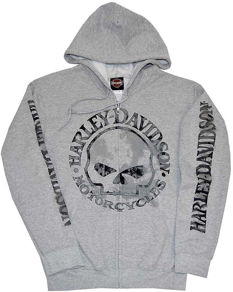 Gray Hoodie 30296654 Harley-Davidson Mens Hooded Sweatshirt Willie G Skull